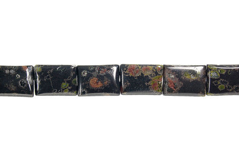 Black Leopardskin Jasper Flat Rectangle Beads