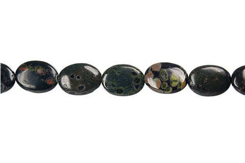 Black Leopardskin Jasper Flat Oval Beads