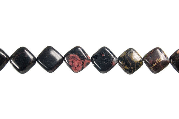 Black Leopardskin Jasper Diamond Square Beads