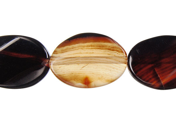 Zebra Onyx Twisted Flat Oval Beads