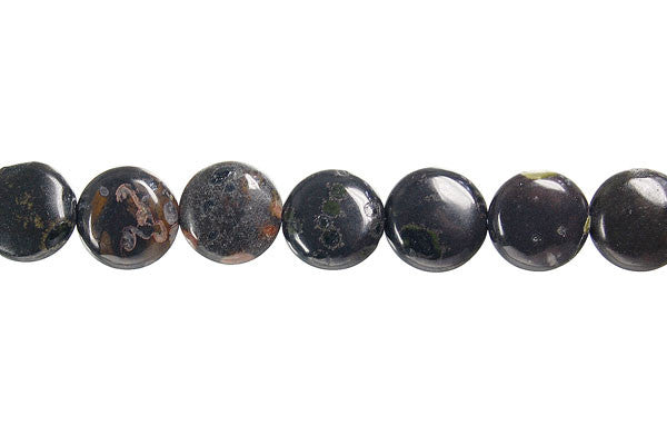 Black Leopardskin Jasper Button Beads