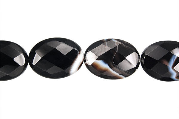 Sardonyx (Black) Faceted Flat Oval Beads