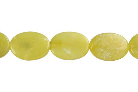 Olive Jade (Light) Flat Oval (B) Beads