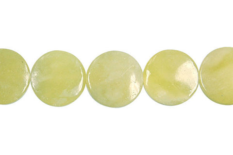 Olive Jade (Light) Coin (B) Beads