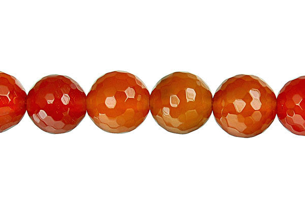 Red Agate Faceted Round Beads