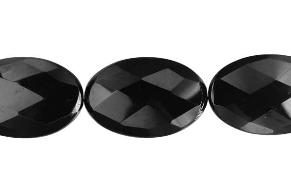 Black Onyx (AAA) Faceted Flat Oval Beads
