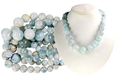 Aquamarine Graduated Round Beads