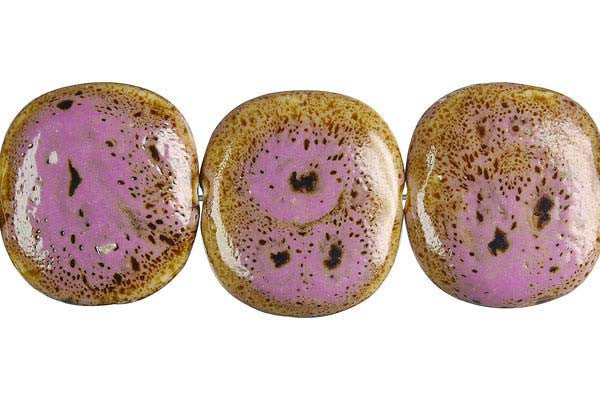 Porcelain Button (Pink) Beads