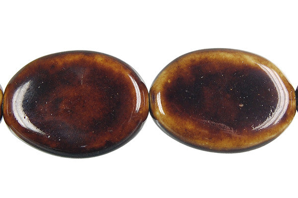 Porcelain Flat Oval (Coffee) Beads