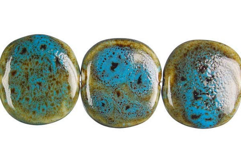Porcelain Button (Green) Beads