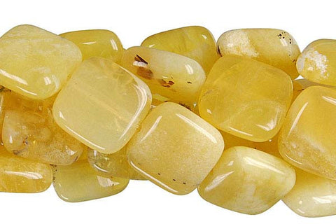 Yellow Opal Flat Square Beads