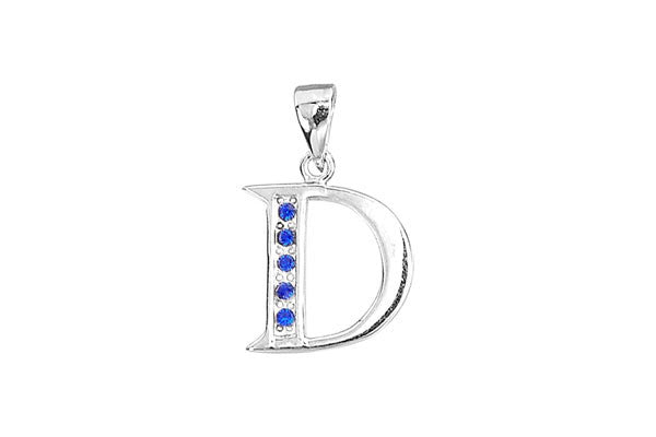 Sterling Silver Block Alphabet Charm, Letter D, 20.0mm