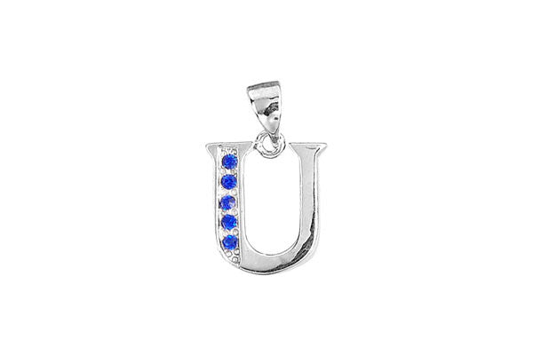 Sterling Silver Block Alphabet Charm, Letter U, 20.0mm