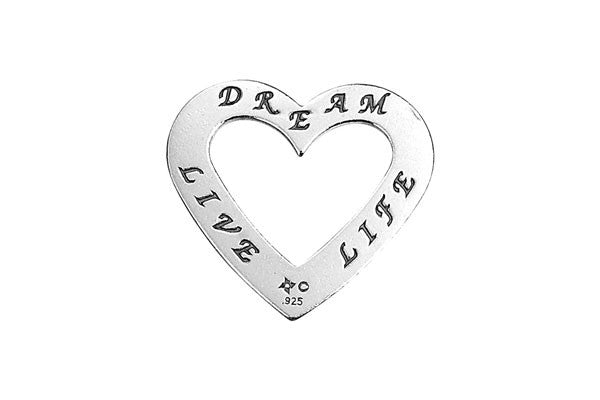 Sterling Silver Live-Dream-Love Trio Affirmation Open Heart Charm, 20.0x22.0mm