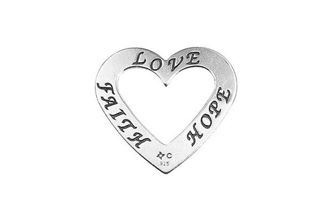 Sterling Silver Faith-Hope-Love Trio Affirmation Open Heart Charm, 20.0x22.0mm