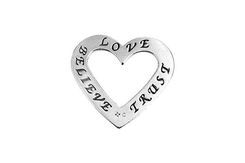 Sterling Silver Belive-Love-Trust Trio Affirmation Open Heart Charm, 20.0x22.0mm