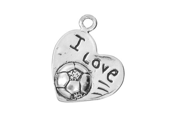 Sterling Silver I Love Soccer Sports Charm, 14.0x17.0mm