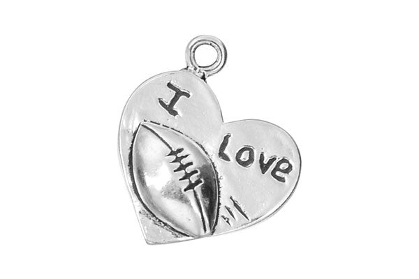 Sterling Silver I Love Football Sports Charm, 14.0x17.0mm