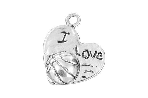 Sterling Silver I Love Basketball Sports Charm, 14.0x17.0mm