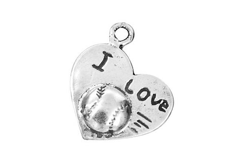 Sterling Silver I Love Baseball Sports Charm, 14.0x17.0mm