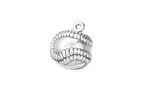 Sterling Silver Baseball Sports Charm, 9.0x9.0mm