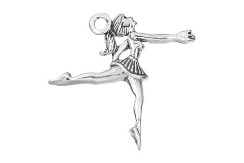 Sterling Silver Ballerina Sports Charm, 25.0x25.0mm