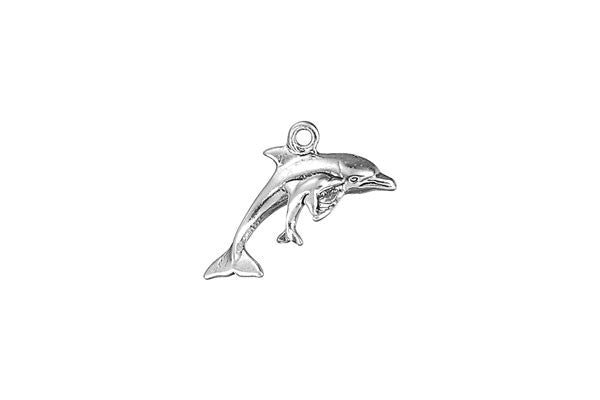 Sterling Silver Dolphin w/Calf Sealife Charm, 14.0x6.0mm