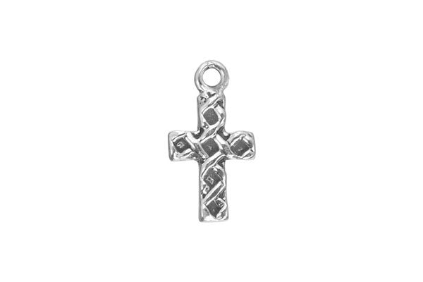 Sterling Silver Woven Cross Religious Charm, 12.0x8.0mm