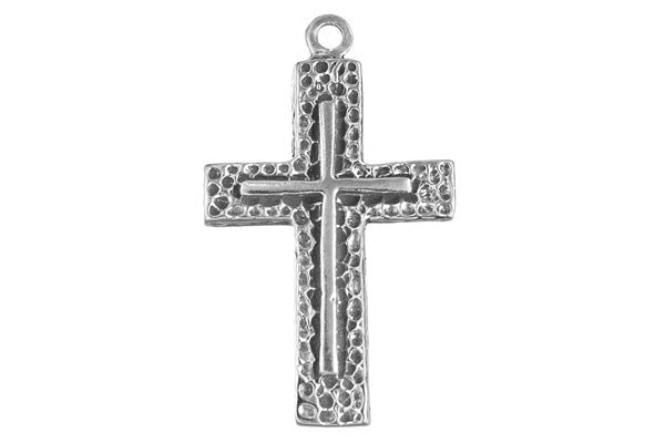 Sterling Silver Raised Cross Religious Charm, 30.0x20.0mm