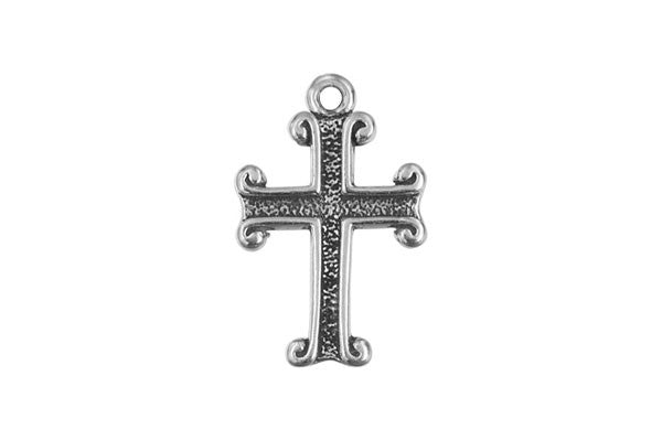 Sterling Silver Indented Cross Religious Charm, 14.0x10.0mm