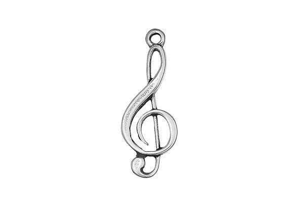 Sterling Silver Treble Clef Charm, 20.0x10.0mm