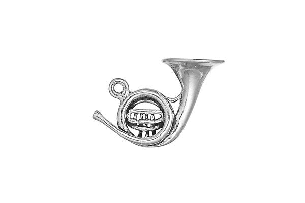 Sterling Silver French Horn Charm, 20.0x19.0mm