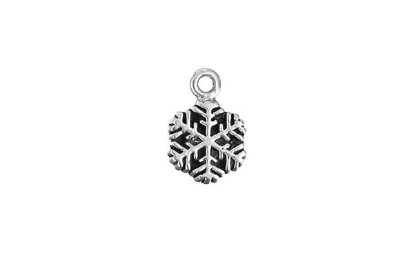Sterling Silver Small Snowflake Charm, 8.0x8.0mm