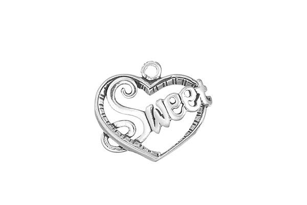 Sterling Silver Sweet Heart Charm, 20.0x20.0mm