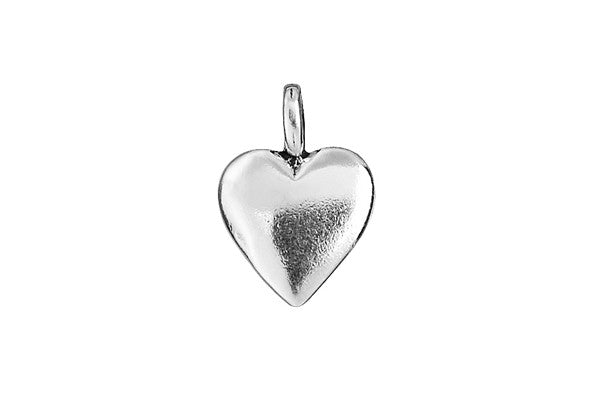 Sterling Silver Smooth Heart Charm, 15.0x10.0mm