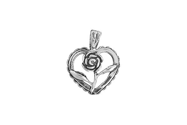Sterling Silver Heart and Rose Charm, 19.0x19.0mm
