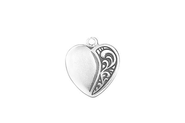 Sterling Silver Heart Charm, 21.0x15.0mm