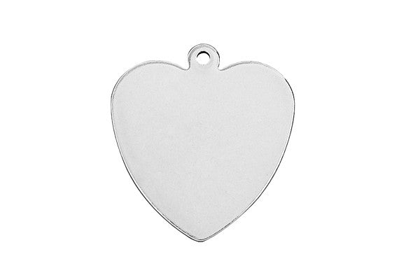 Sterling Silver Heart Charm, 18.0x18.0mm