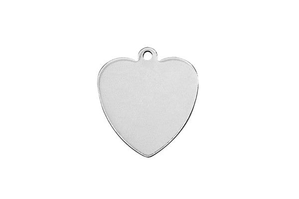 Sterling Silver Heart Charm, 14.0x14.0mm