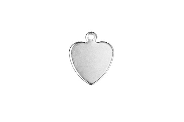 Sterling Silver Heart Charm, 10.0x10.0mm