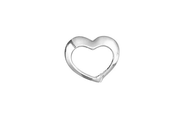 Sterling Silver Floating Heart Charm, 14.0x16.0mm