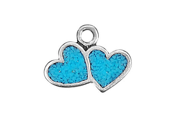 Sterling Silver Double Heart w/Inlay Charm, 8.0x10.0mm