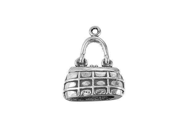 Sterling Silver Purse Charm, 18.0x17.0mm