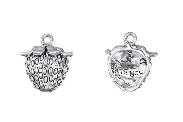 Sterling Silver Strawberry - Patience Charm, 17.0x14.0mm