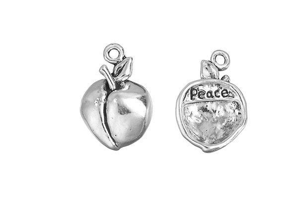 Sterling Silver Peach - Peace Charm, 19.0x12.0mm