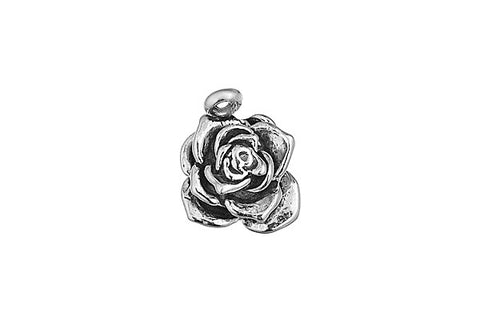 Sterling Silver Rose Charm, 15.0x12.0mm
