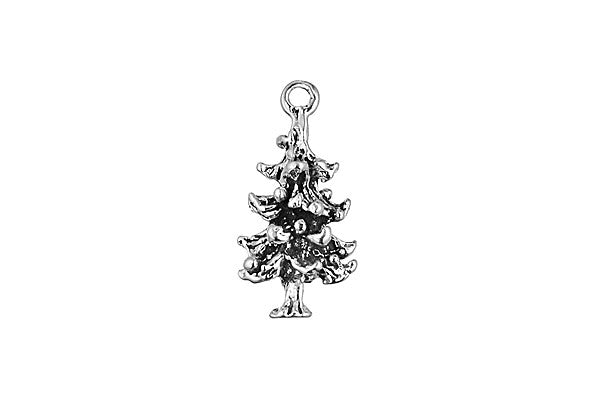 Sterling Silver Pine Tree Charm, 20.0x10.0mm