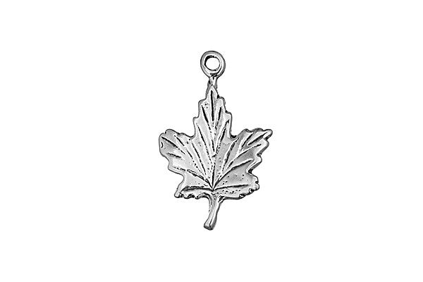 Sterling Silver Maple Leaf Charm, 22.0x14.0mm