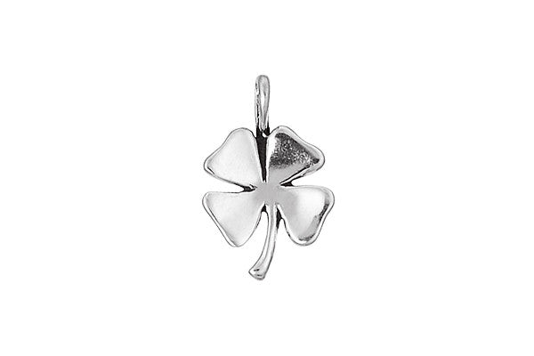 Sterling Silver Four-Leaf Clover Charm, 18.0x12.0mm
