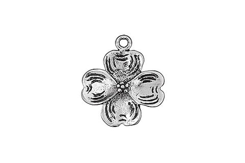 Sterling Silver Dogwood Blossom Charm, 16.0x16.0mm